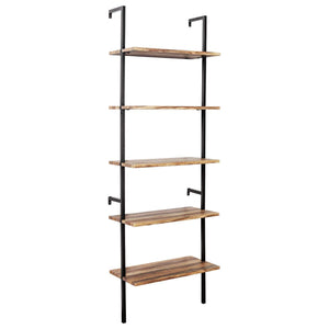 Results ironck industrial ladder shelf bookcase 5 tier wood shelves wall mounted stable expand space bookshelf retro wall decor furniture for living room kitchen bar storage