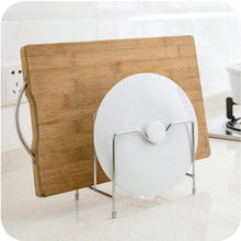 Load image into Gallery viewer, Storage stainless steel pot rack kitchen chopping board lid pot pan storage shelf drain tableware shelves cooking tools holder