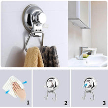 Load image into Gallery viewer, Shop here powerful vacuum suction hooks mocy strong stainless steel suction cup hooks for bathroom kitchen wall home removable shower hools hanger damage free for towel bath robe coat and loofah pack of