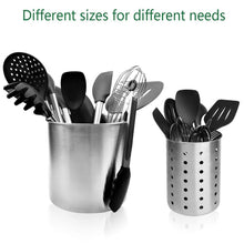 Load image into Gallery viewer, Discover the utensil holder stainless steel kitchen cooking utensil holder for organizing and storage dishwasher safe silver 2 pack
