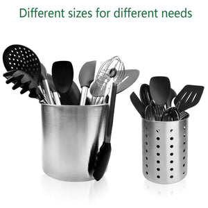Discover the utensil holder stainless steel kitchen cooking utensil holder for organizing and storage dishwasher safe silver 2 pack