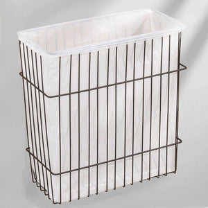 Great mdesign metal wire wall mount kitchen storage organizer basket trash can for cabinet and pantry doors holds bags tin foil wax paper saran wrap solid steel bronze