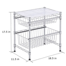 Load image into Gallery viewer, Explore rackaphile stackable 2 tier sliding basket organizer drawer under sink cabinet with adjustable leveling feet rack shelf for bathroom kitchen closet office desktop silver