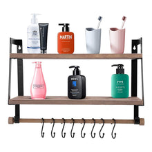 Load image into Gallery viewer, Storage halcent wall shelves wood storage shelves with towel bar floating shelves rustic 2 tier bathroom shelf kitchen spice rack with hooks for bathroom kitchen utensils