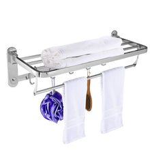 Load image into Gallery viewer, Amazon beamnova foldable towel rack 20 inch with shelf towel rack with bar hooks wall mounted easy installation towel holder stainless steel for shower bathroom kitchen