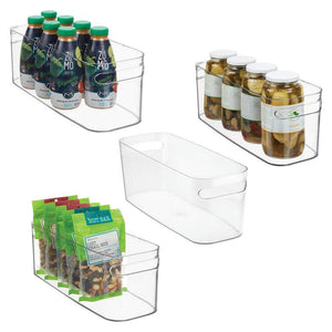 Online shopping mdesign plastic kitchen under sink refrigerator or freezer food storage bin with handles organizer for fruit yogurt snacks pasta food safe bpa free 4 pack clear