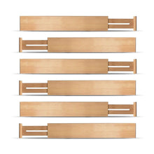 Load image into Gallery viewer, Buy now bamboo kitchen drawer dividers organizers set of 6 spring loaded adjustable drawer separators for home and office organization