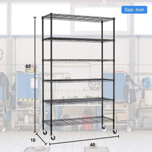 Load image into Gallery viewer, Top rated bestoffice 6 tier wire shelving unit heavy duty height adjustable nsf certification utility rolling steel commercial grade with wheels for kitchen bathroom office 2100lbs capacity 18x48x82 black