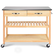 Load image into Gallery viewer, Products giantex kitchen trolley cart rolling island cart serving cart large storage with stainless steel countertop lockable wheels 2 drawers and shelf utility cart for home and restaurant solid pine wood