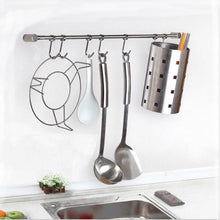 Load image into Gallery viewer, Selection pan pot hanger hooks rack ulifestar wall mout stainless steel kitchen utensil organizer storage lid holder rest 15rail rod with 7 hanging hooks 1