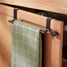 Load image into Gallery viewer, Top rated mdesign decorative kitchen over cabinet expandable towel bars hang on inside or outside of doors for hand dish and tea towels pack of 2 bronze finish