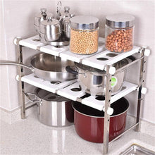 Load image into Gallery viewer, Amazon stainless steel adjustable scalable kitchen bathroom lower sink shelf storage organizer protector shelf interior