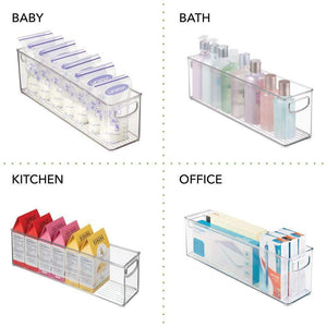 Organize with mdesign plastic stackable kitchen pantry cabinet refrigerator or freezer food storage bins with handles organizer for fruit yogurt snacks pasta bpa free 16 long 8 pack clear