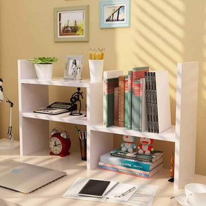 Shop desktop organizer office storage adjustable display bookshelf double shelf desk supplies for office kitchen multipurpose rack