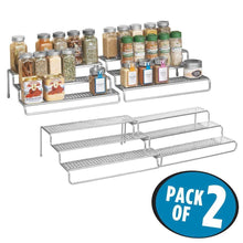 Load image into Gallery viewer, Budget friendly mdesign adjustable expandable kitchen wire metal storage cabinet cupboard food pantry shelf organizer spice bottle rack holder 3 level storage up to 25 wide 2 pack silver