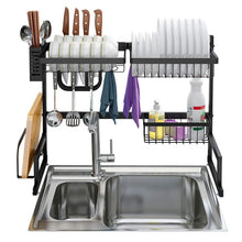 Load image into Gallery viewer, Results langria dish drying rack over sink stainless steel drainer shelf professional 2 tier utensils holder display stand for kitchen counter organization fully customizable 25 6 inches width black