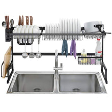 Load image into Gallery viewer, Shop here langria dish drying rack over sink stainless steel drainer shelf professional 2 tier utensils holder display stand for kitchen counter organization fully customizable 37 4 inches width black