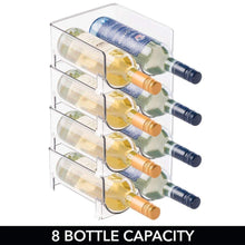 Load image into Gallery viewer, Top mdesign plastic free standing wine rack storage organizer for kitchen countertops table top pantry fridge holds wine beer pop soda water bottles stackable 2 bottles each 8 pack clear