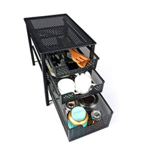 Load image into Gallery viewer, Storage stackable 3 tier organizer baskets with mesh sliding drawers ideal cabinet countertop pantry under the sink and desktop organizer for bathroom kitchen office