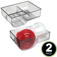 Load image into Gallery viewer, Save on mdesign food storage container lid holder 3 compartment plastic organizer bin for organization in kitchen cabinets cupboards pantry shelves 2 pack smoke gray