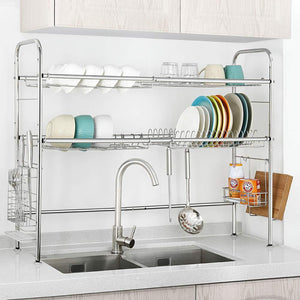Budget nex 2 tier stainless steel drying dish rack non slip length adjustable kitchen cabinets with chopstick holder double groove