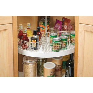 Exclusive mdesign farmhouse metal kitchen cabinet lazy susan storage organizer basket with front handle medium pie shaped 1 4 wedge 4 2 deep container 4 pack satin