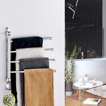 Load image into Gallery viewer, Budget friendly elifeapply swivel towel rack stainless steel swing out towel bar 4 swing arms wall mounted towel holder space saving swinging towel bar for bathroom and kitchen