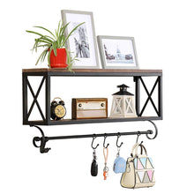 Load image into Gallery viewer, Storage organizer warm van rustic wood with metal bracket wall shelf living room or bedroom or kitchen multi use wall mount shelves storage rack upside down mug coffee cup holder bar club party decoration shelf