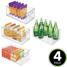 Load image into Gallery viewer, Best seller  mdesign deep plastic kitchen storage organizer container bin with handles for pantry cabinets shelves refrigerator freezer bpa free 14 5 long 4 pack clear