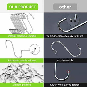 Top rated 24 pack s shaped hanging hooks hanger hooks 3 5 hanging plant pan cup metal s hooks hanger heavy duty stainless steel s hooks for kitchen bathroom bedroom and office hanging utensils towels