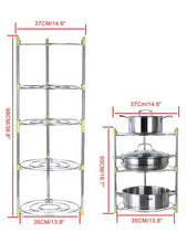 Load image into Gallery viewer, Purchase uheng 5 tier adjustable kitchen cabinet pantry pan and pot lid organizer rack holder houseware cookware holders storage stainless steel dia 13 7 x h 38 5