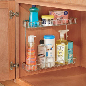 Selection interdesign classico metal 2 tier shelf under sink organizer for kitchen bathroom cabinets 16 75 x 4 25 x 13 chrome