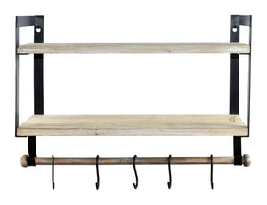 Kitchen spiretro wall mount 2 tier floating shelves with metal bracket rustic torched wood with removable towel rod and s hooks to storage organize hang and display for kitchen book study bathroom grey