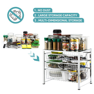 Save bextsware cabinet basket organizer with 3 tier wire grid sliding drawer multi function stackable mesh storage organizer for kitchen counter desktop bathroom under sinkchrome