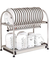 Load image into Gallery viewer, Buy now kitchen hardware collection 2 tier dish drying rack stainless steel stand on countertop draining rack 17 9 inch length 16 dish slots organizer with drainboard for cup plate bowl