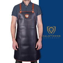 Load image into Gallery viewer, Top rated dalstrong professional chefs kitchen apron the culinary commander top grain leather 5 storage pockets towel tong loop fully adjustable harness straps heavy duty