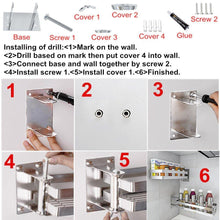 Load image into Gallery viewer, Selection ming hong tang 180 rotatable stainless steel kitchen storage collecter for seasoning no drill to install detachable to wash