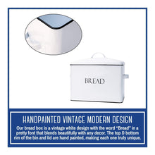 Load image into Gallery viewer, Order now outshine vintage metal bread bin countertop space saving extra large high capacity bread storage box for your kitchen holds 2 loaves 13 x 10 x 7 white with bread lettering