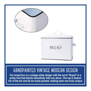Order now outshine vintage metal bread bin countertop space saving extra large high capacity bread storage box for your kitchen holds 2 loaves 13 x 10 x 7 white with bread lettering