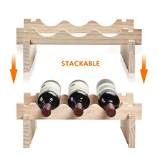 Load image into Gallery viewer, On amazon defway wood wine rack countertop stackable storage wine holder 12 bottle display free standing natural wooden shelf for bar kitchen 4 tier natural wood