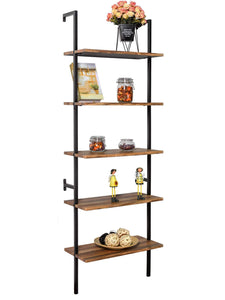 Shop for ironck industrial ladder shelf bookcase 5 tier wood shelves wall mounted stable expand space bookshelf retro wall decor furniture for living room kitchen bar storage