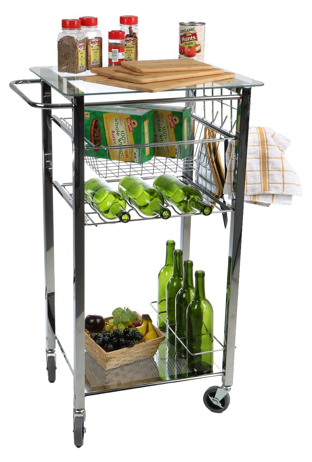 On amazon mind reader glass top mobile kitchen cart with wine bottle holder wine rack towel holder perfect kitchen island for cooking utensils kitchen appliances and food storage silver