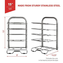 Load image into Gallery viewer, Discover heavy duty cast iron pan and pot organizer rack 5 height adjustable shelves kitchen skillets cookware holder stainless steel 15 tall