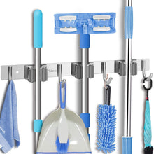 Load image into Gallery viewer, Budget friendly tsmine broom holder organizers and storage stainless steel mop holder wall mounted garden tool heavy duty rack hooks for garage home kitchen bathroom closet and shed 3 racks 4 hooks