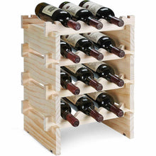 Load image into Gallery viewer, Kitchen defway wood wine rack countertop stackable storage wine holder 12 bottle display free standing natural wooden shelf for bar kitchen 4 tier natural wood