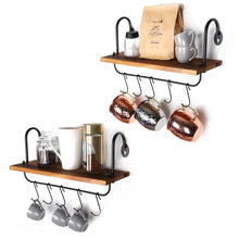 Load image into Gallery viewer, Top rated o kis wall floating shelves for kitchen bathroom coffee nook with 10 adjustable hooks for mugs cooking utensils or towel rustic storage shelves set of 2