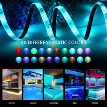 Load image into Gallery viewer, Shop here mingopro led strip lights 32 8ft 10m 300 leds smd5050 rgb strip lights ip65 waterproof flexible strip lighting for home kitchen tv desk table dining room bed room