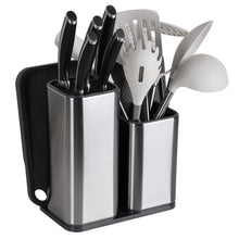 Load image into Gallery viewer, Discover elfrhino utensils holder with cooking utensils set knives block utensils container flatware caddy cookware cutlery multipurpose kitchen storage crock slotted spoon spatula spaghetti server set of 10