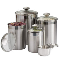 Load image into Gallery viewer, Storage beautiful canisters sets for the kitchen counter 8 piece stainless steel medium sized with glass lids and measuring cups silveronyx tea coffee sugar flour canisters 8pc glass lids