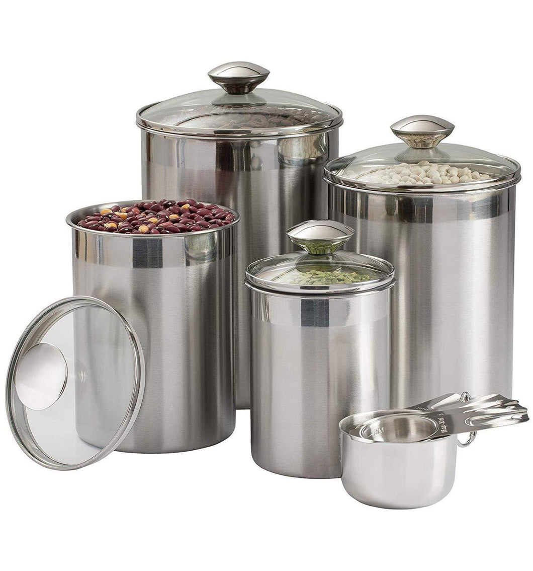 Storage beautiful canisters sets for the kitchen counter 8 piece stainless steel medium sized with glass lids and measuring cups silveronyx tea coffee sugar flour canisters 8pc glass lids
